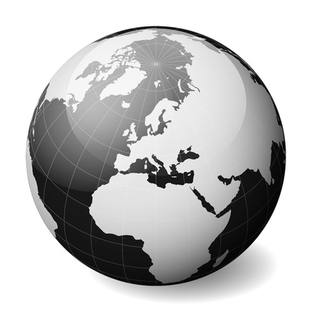 Black Earth globe focused on Europe. With thin white meridians and parallels. 3D glossy sphere vector illustration. Standard-Bild - 101754604