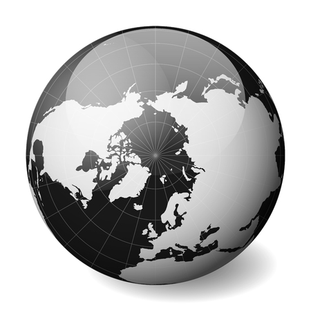 Black Earth globe focused on Arctica. With thin white meridians and parallels. 3D glossy sphere vector illustration. Stock Illustratie