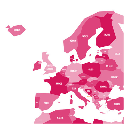 Very simplified infographical political map of Europe in pink colors. Simple geometric vector illustration.