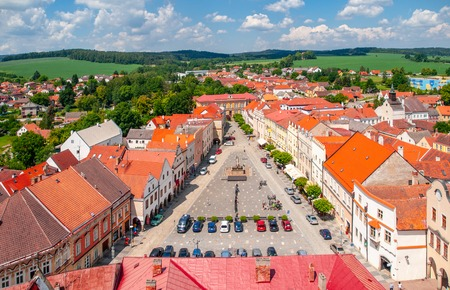 Aerial view of Peace Town Square from bell tower in Slavonice, Czech Canada, Czechia.