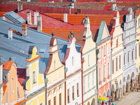 Aerial view of colorful gables and rooftops of renaissance houses in Telc, Czech Republic. UNESCO World Heritage Site.