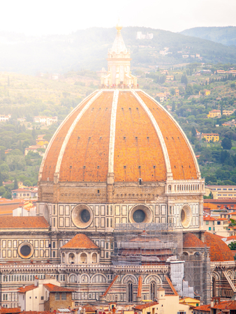 Cupola del Brunelleschi of Florence Cathedral, formally the Cattedrale di Santa Maria del Fiore. Florence, Italy. Stock Photo