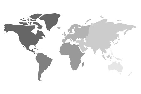Map of World continents in grey color Stock Illustratie