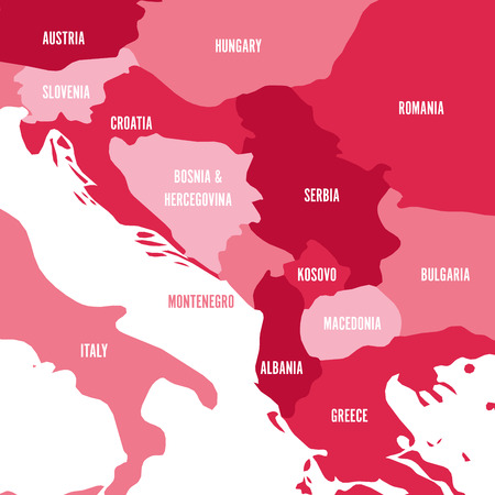 Political map of Balkans - States of Balkan Peninsula. Four shades of pink vector illustration.