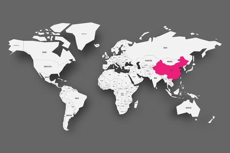 China pink highlighted in map of World. Light grey simplified map with dropped shadow on dark grey background. Vector illustration. Ilustrace