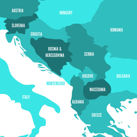 Political map of Balkans - States of Balkan Peninsula. Four shades of turquoise blue vector illustration,