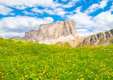 Lastoni de Formin, aka Ponta Lastoi de Formin. Giant mountain block with blooing meadow and summer sky, Dolomites, Italy.
