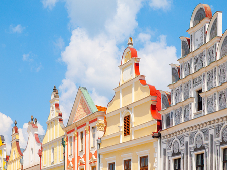 Colorful gables of renaissance houses in Telc, Czech Republic.