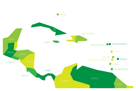 Map of Central America and Caribbean. Simlified schematic vector map in shades of green.