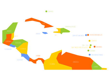 Map of Central America and Caribbean. Simlified schematic vector map in four color scheme.