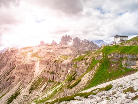 Auronzo mountain hut, aka Rifugio Auronzo, at Tre Cime massive, Dolomites, Italy
