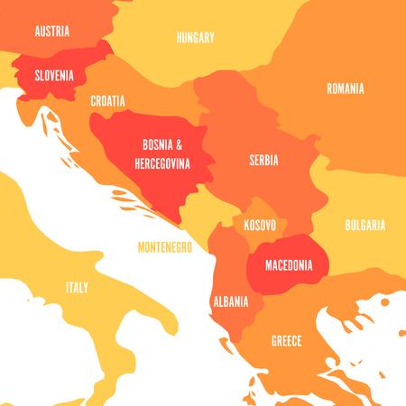 Political map of Balkans - States of Balkan Peninsula. Four shades of orange vector illustration. Illustration