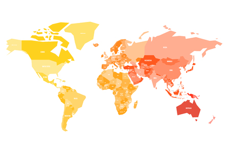 Multicolored map of World. Simplified political map with national borders ande name labels of countires. Colorful vector illustration in warm colors.