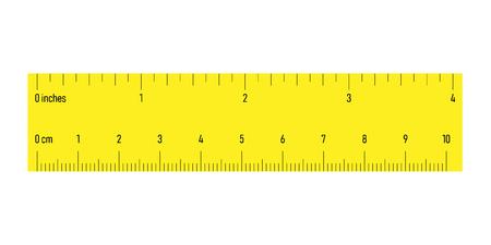 Regla de ambos lados con escalas en centímetros y pulgadas. Ilustración de vector amarillo. Ilustración de vector