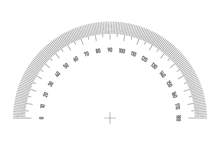Protractor grid for measuring angle or tilt. 180 degrees scale. Simple vector illustration.