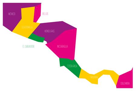Carte politique de l'Amérique centrale. Carte vectorielle plane schématique simplifiée en quatre couleurs.