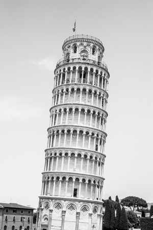 Leaning Tower of Pisa o Cathedral square in Pisa, Tuscany, Italy. Black and white image. Фото со стока