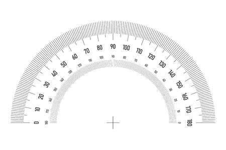 Protractor grid for measuring angle or tilt. Double side 180 degrees scale. Simple vector illustration. Illustration
