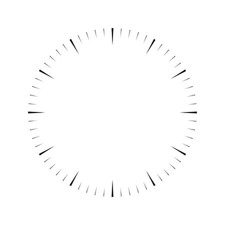 Clock face. Blank hour dial. Wedges mark minutes and hours. Simple flat vector illustration.