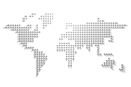 Dotted World map. White dots with dropped shadow on white background. Vector illustration.