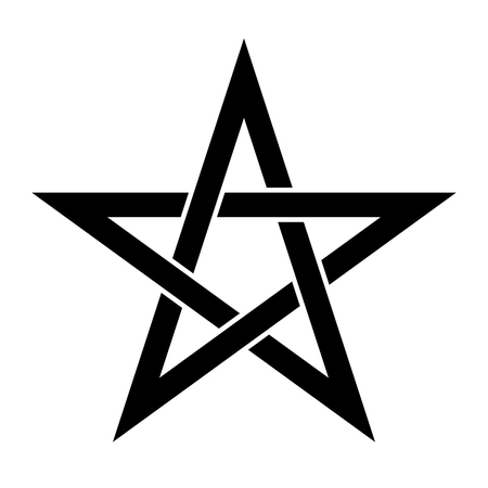 Pentagrammzeichen - fünfzackiger Stern. Magisches Symbol des Glaubens. Einfache flache schwarze Illustration. Vektorgrafik