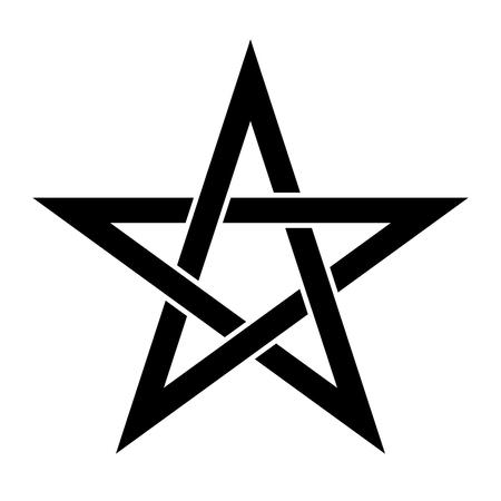 Signe du pentagramme - étoile à cinq branches. Symbole magique de la foi. Illustration noire plate simple. Vecteurs