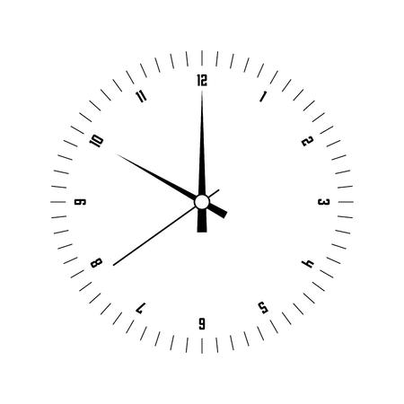 Ziffernblatt. Stundenzifferblatt mit Zahlen und Stunden-, Minuten- und Sekundenzeiger. Striche markieren Minuten und Stunden. Einfache flache Vektorillustration. Vektorgrafik