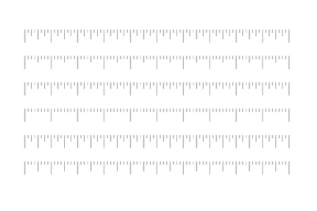 Set of horizontal rulers - lenght and size indicators distance units divided in quaters. Vector illustration. 向量圖像