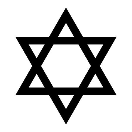 Star of David. Hexagram sign. Symbol of Jewish identity and Judaism. Simple flat black illustration.