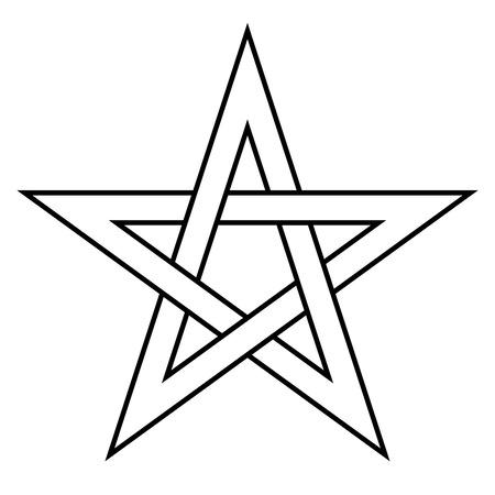 Pentagrammzeichen - fünfzackiger Stern. Magisches Symbol des Glaubens. Einfache flache weiße Illustration mit schwarzem Umriss.