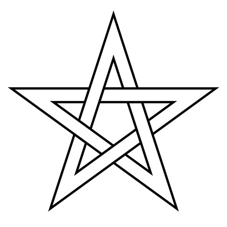 Pentagram sign - five-pointed star. Magical symbol of faith. Simple flat white illustration with black outline.