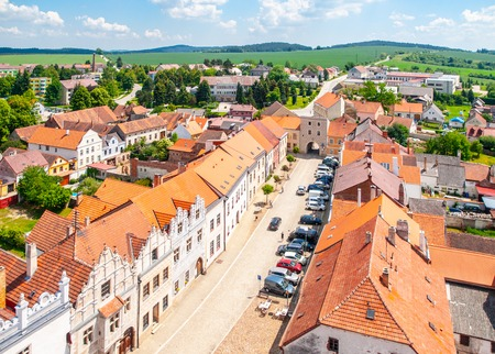 Aerial view of Renaissance houses in Slavonice, Czech Republic.