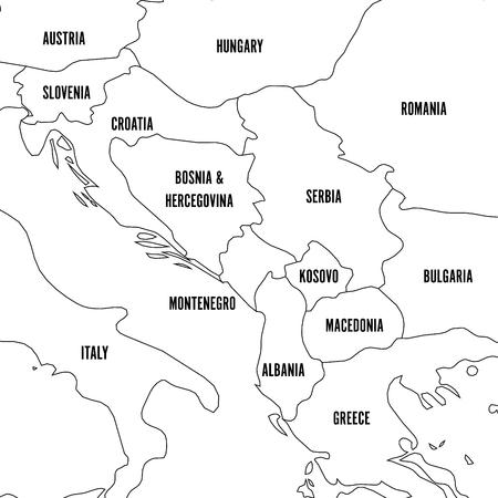 Politische Karte des Balkans - Staaten der Balkanhalbinsel. Einfacher flacher schwarzer Umriss mit schwarzen Ländernamensetiketten.