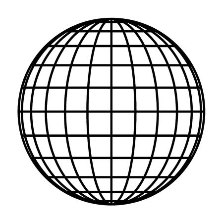 Erdplaneten-Globusgitter aus schwarzen dicken Meridianen und Parallelen oder Breiten- und Längengraden. 3D-Vektorillustration.