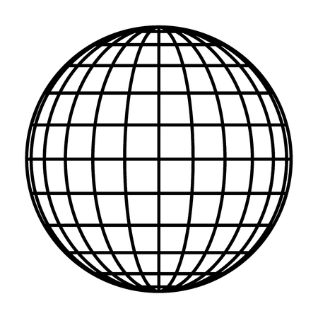 Grille de globe terrestre de la planète des méridiens et parallèles épais noirs, ou latitude et longitude. Illustration vectorielle 3D.