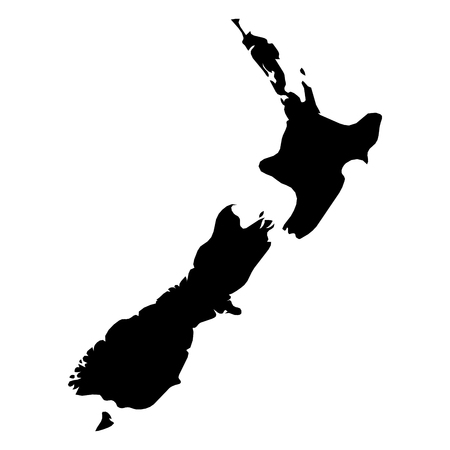 New Zealand - solid black silhouette map of country area. Simple flat vector illustration.