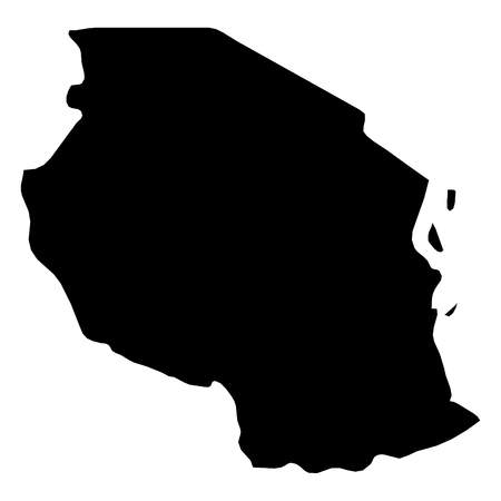Tanzania - solid black silhouette map of country area. Simple flat vector illustration.