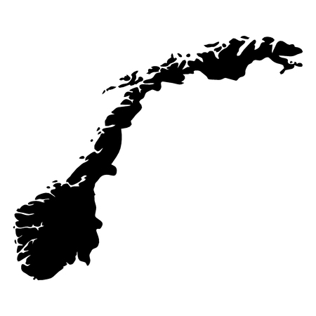 Norway - solid black silhouette map of country area. Simple flat vector illustration.