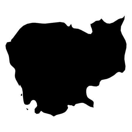 Cambodia - solid black silhouette map of country area. Simple flat vector illustration.