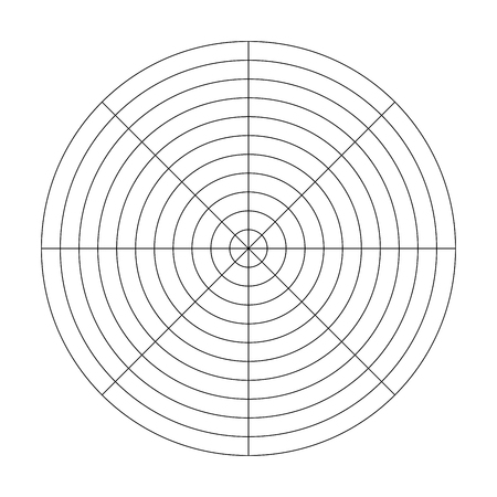 Polar grid of 10 concentric circles and 45 degrees steps. Blank vector polar graph paper. Illustration