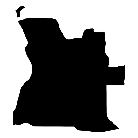 Angola - solid black silhouette map of country area. Simple flat vector illustration.