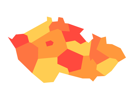 Map of Czech Republic divided into administrative regions. Blank map in four shades of orange. Vector illustration. 矢量图像