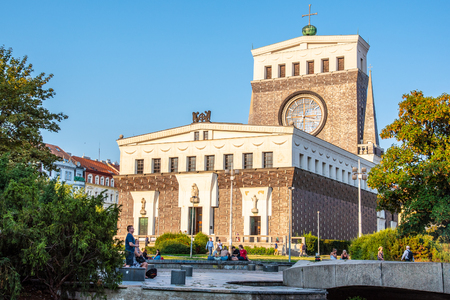 PRAGUE, CZECH REPUBLIC - AUGUST 17, 2018: Roman catholic Church of the Most Sacred Heart of Our Lord at Jiriho z Podebrad Square, Vinohrady, Prague, Czech Republic. Editorial