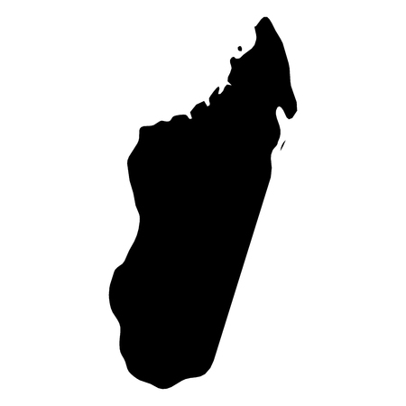 Madagascar - solid black silhouette map of country area. Simple flat vector illustration.
