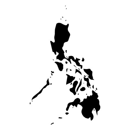 Philippines - solid black silhouette map of country area. Simple flat vector illustration.