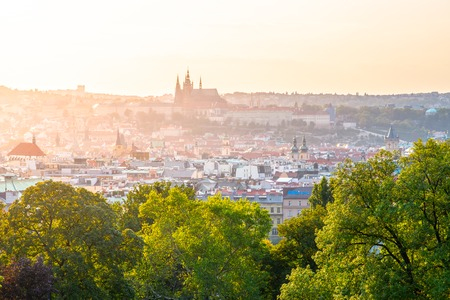 Prague cityscape with Prague Castle at summer sunset time. View from Rieger Gardens, Prague, Czech Republic.