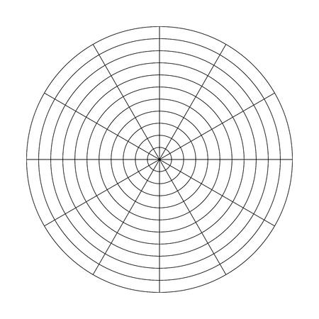 Cuadrícula polar de 10 círculos concéntricos y pasos de 30 grados. Papel cuadriculado polar vector en blanco.