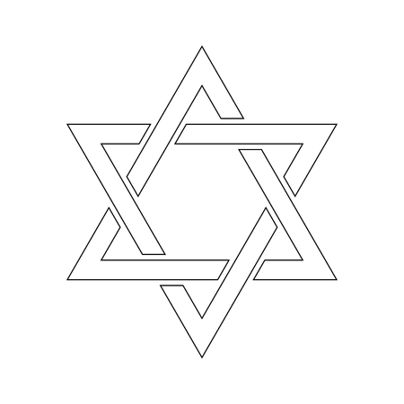 Star of David. Hexagram sign. Symbol of Jewish identity and Judaism. Simple flat white illustration with thin black outline. Illustration