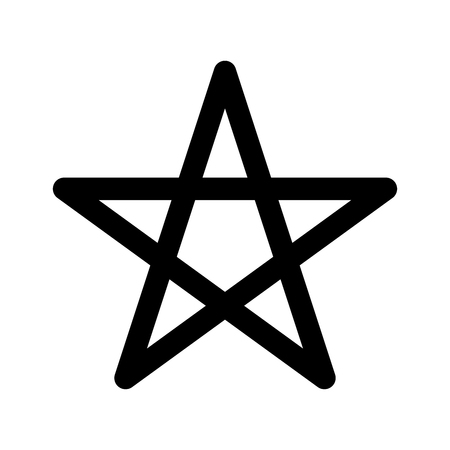 Pentagram sign - five-pointed star. Magical symbol of faith. Simple flat black illustration with rounded corners.