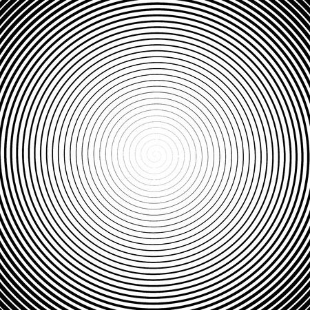 Spirale haute densité. Effet Halfotne. Illustration vectorielle en noir et blanc. Vecteurs